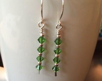 handmade fern and silver drop earrings