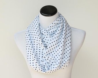 Polka dot infinity scarf classic white black scarf - loop scarf birthday gift idea for her - gift for mom gift for girl