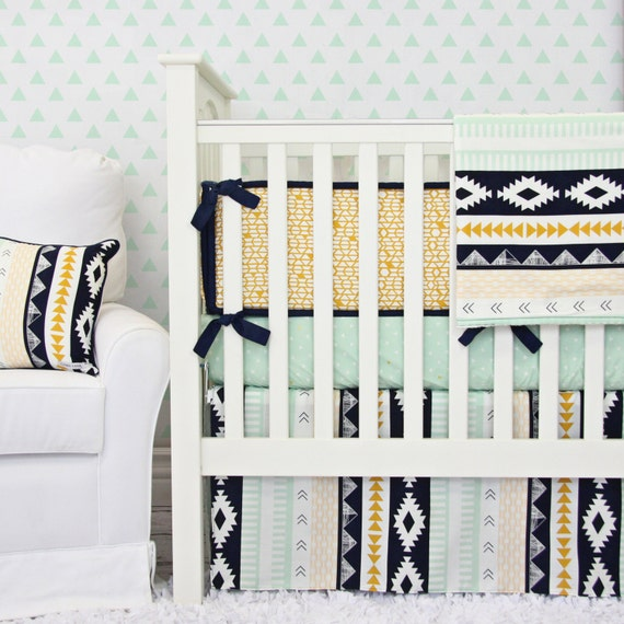 Aztec Gold & Mint Tribal Baby Bedding | Mint Nursery Bedding