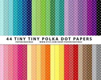 """Tiny Polka Dot Digital Paper Pack 12"""" x 12"""" Commercial and Personal Use rainbow printable mega party printable background INSTANT DOWNLOAD"""