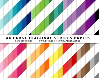 """Diagonal Stripe Large Digital Paper Pack 12"""" x 12"""" Commercial and Personal Use printable 44 sheets rainbow stash builder INSTANT DOWNLOAD"""