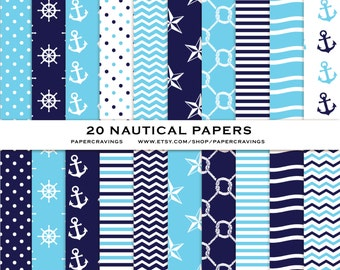 """Nautical Digital Paper Pack 12"""" x 12"""" Commercial & Personal Use printable Blue Navy Nautical anchor knot waves star stripe INSTANT DOWNLOAD"""