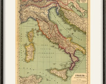 Italian map print map vintage old maps Antique map poster map wall home decor wall map italian print old prints italian decor large map