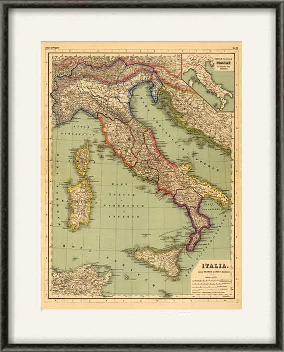 Italian Map Print Map Vintage Old Maps Antique Map Poster Map
