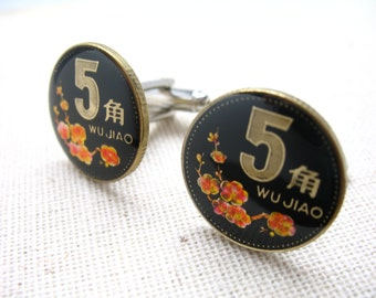 China Coins Cufflinks Hand Painted Cherry Blossoms Asia Asian Cuff Links
