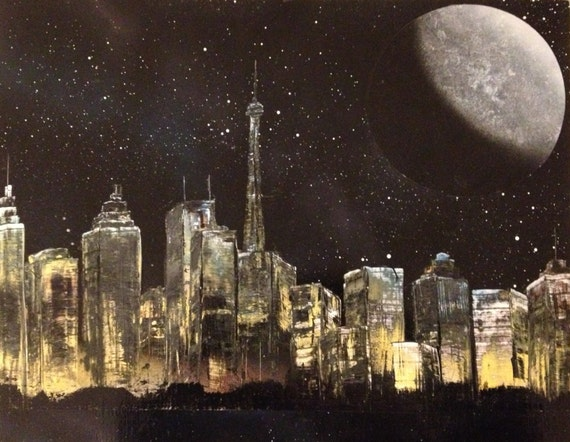 Original painting spray paint art city lights for How to spray paint art on canvas