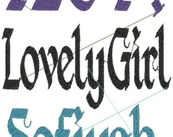 Medieval Style 1 Embroidery design Font, old,gothic in 2 &4  inches INSTANT DOWNLOAD