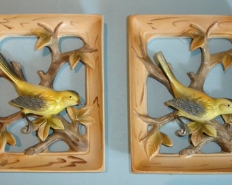 Pair of Vintage 3D Hand Painted NAPCO Gold Finch Wall Plaques