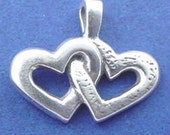 DOUBLE HEART Charm or Pendant .925 Sterling Silver