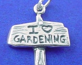 I LOVE Gardening Charm .925 Sterling Silver