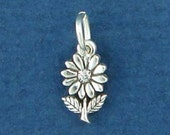DAISY Flower Charm, MINIATURE Small .925 Sterling Silver Charm