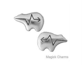 ZUNI BEAR Earrings, Heartline Bear, Native American Indian Post Stud .925 Sterling Silver
