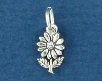 DAISY Charm .925 Sterling Silver Flower MINIATURE Small - elp522