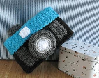 Crocheted amigurumi camera