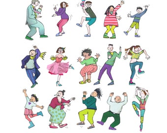 WEY HEY in  Colour. Its party time ! People dancing and doing their colourful thing .Printed card from collage original