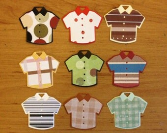 10 Patterned mens boys Shirts Die cuts for card toppers for male card - assembled ready to use