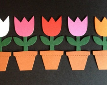 12 Assembled Tulips Flowers in a pot die cut card toppers *cardmaking*scrapbooking*
