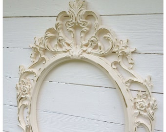 large vintage style frame shabby chic oval frame french country baroque style wedding gift house warming gift photography frame