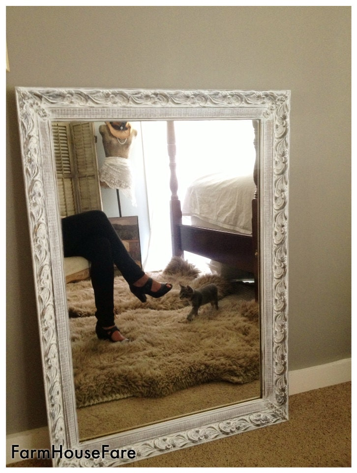 Large wall mirror shabby chic white chalk paint ornate for White mirrors for living room