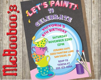 Ceramic Pottery Painting Party Invitations.