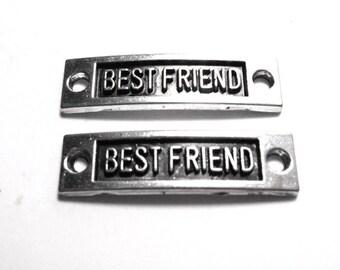 2 Best Friend Connectors, Best Friend Connector, Connectors with Words, Message Connectors, Friend Charm, Word Connectors SC0052