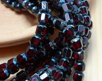 6mm Ruby Cathedral Czech Beads, Red Beads, Antique Octagonal Beads, Ruby Beads, Garnet Beads, Small Red Beads, 6mm Cathedral Beads A-015