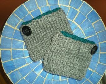 Women's Handknit Boot Cuffs, Grey Boot Cuffs,  Women's Knit Boot Toppers, Knit Boot Cuffs