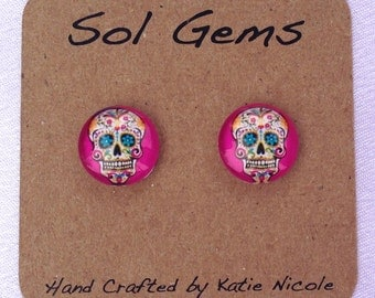 Pink Sugar Skull Earrings - Day of the Dead Earrings - Dia De Los Muertos Earrings - Jewelry