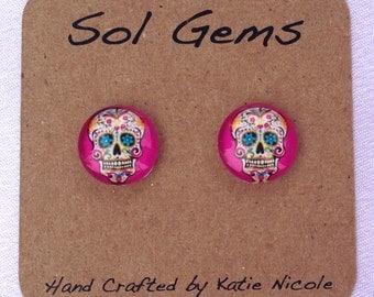 Pink Sugar Skull Earrings - Day of the Dead Earrings - Dia De Los Muertos Earrings - Jewelry