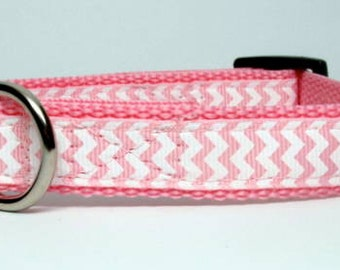 Pink and White Chevron Small or Medium Adjustable Dog Collar 3/4 inch Quick Release