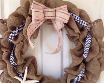 Starfish and chevron wreath