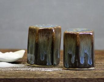 Stoneware pottery Salt and Pepper Shaker set Volcano Blue Short