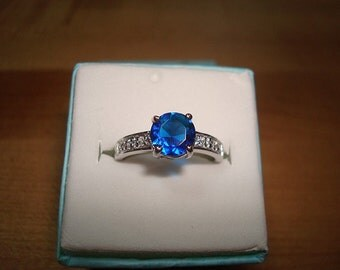 Diamond Cut Blue & White Sapphire 925 Sterling Silver Ring Size 8