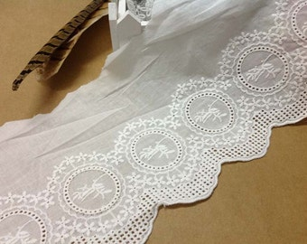 Antique lace fabric Floral Cotton Lace Trim, white Cotton Lace Trim, Floral Lace for Girls, Women, Clothings / Lace supply (1yard)
