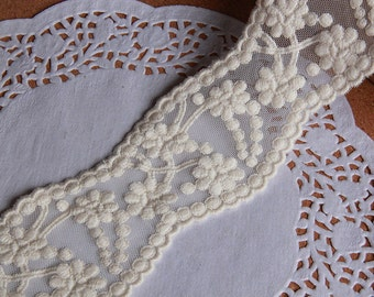 DIY ivory lace trim online store flower embroidered lace ribbon Retro Embroidered Lace, Graceful Ivory Lace Trim, Wedding Fabric Lace