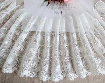 """8"""" wide DIY beige Lace fabric ,circle lace trim,off white lace ribbon for sewing"""