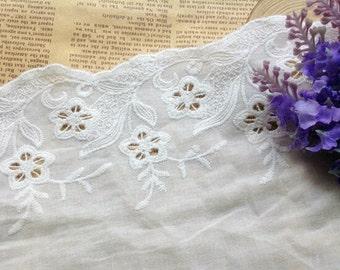 ivory white cotton Lace Trim, 5inch wide For Scrapbook, Home Decor, Apparel, Accessories, Victorian & Romantic Crafts,ecru white lace ribbon