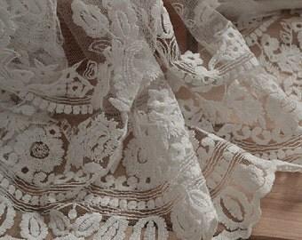white forial cotton  Lace trim