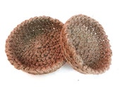 Crochet rustic nesting storage organizer baskets set of 2 spring decor easter decor easter egg basket  natural hemp round eco earth friendly