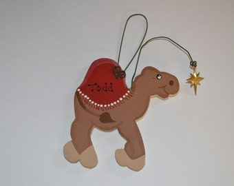 Personalized Wooden Camel with Star Charm Winter Tree Ornament - Your Name - Christmas Holiday - Hand Painted Wood - Christian