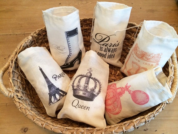 French Wedding Gifts: 6 Paris French France Gift Favor Bags. Set Of 6 Victorian