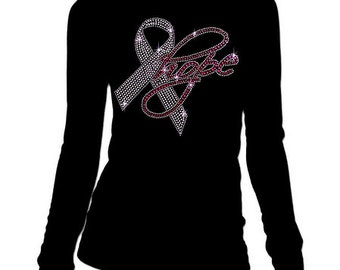 New Junior Rhinestone Breast Cancer Hope Round-Neck long sleeve T-Shirt all size S-3XL Bling Bling