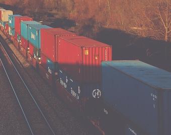 Boxcars Color Photo Print { orange, rust, sunshine, golden, blue, landscape, tracks, train, wall art, macro, nature & fine art photography }