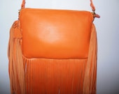 Orange leather clutch - Evening bag - Lucy clutch - Genuine leather Clutch
