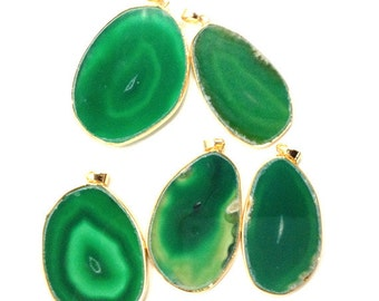 GH055 Green Agate Druzy Druzzy Drusy Slice Pendant Gold Bezel Setting