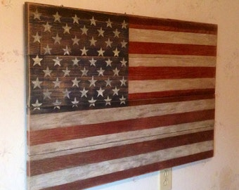 American Flag stained and made from reclaimed solid oak barn wood