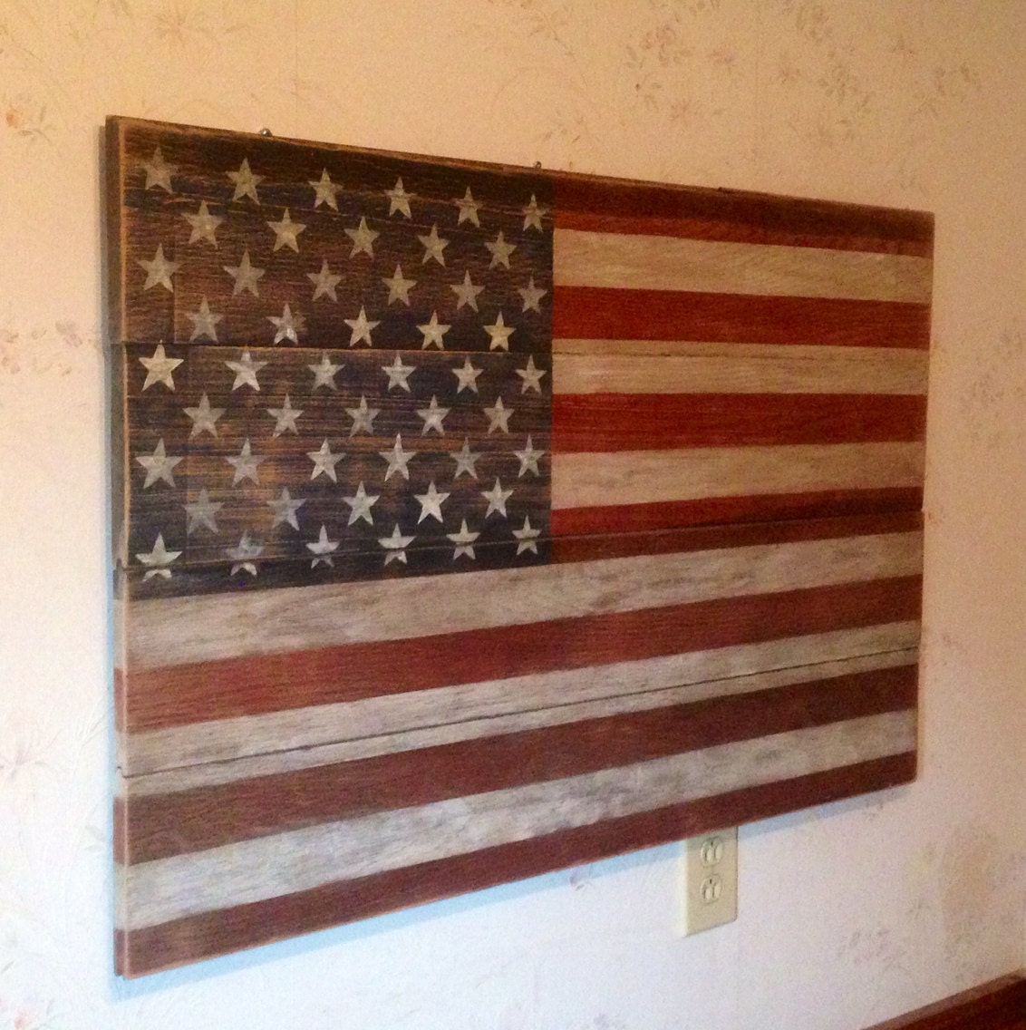 American flag stained and made from reclaimed solid oak barn