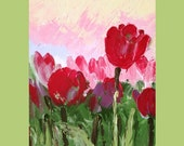 Original Abstract Painting flowers Red Symbolic Title: Fine Art 25x25cm Canvas Palette Knife Tulips Artwork By G. Tal