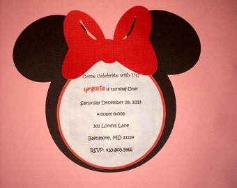 20 Minnie Mouse Face Invitations