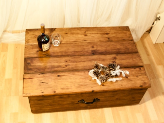 Large Rustic Country Trunk Coffee Table Handcrafted Waxed Storage